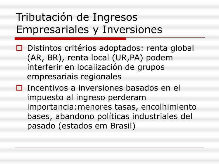 Tributación de Ingresos Empresariales y Inversiones