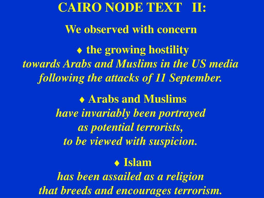 CAIRO NODE TEXT   II:
