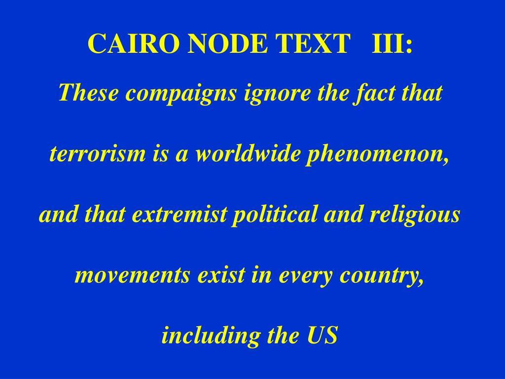 CAIRO NODE TEXT   III: