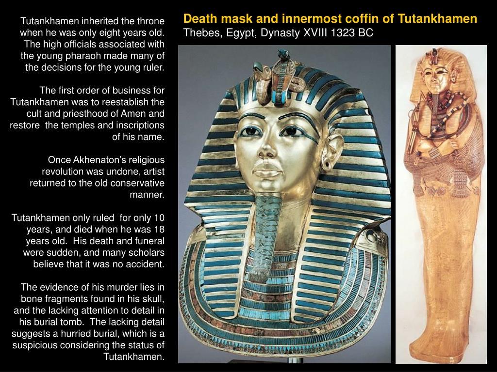 Death mask and innermost coffin of Tutankhamen