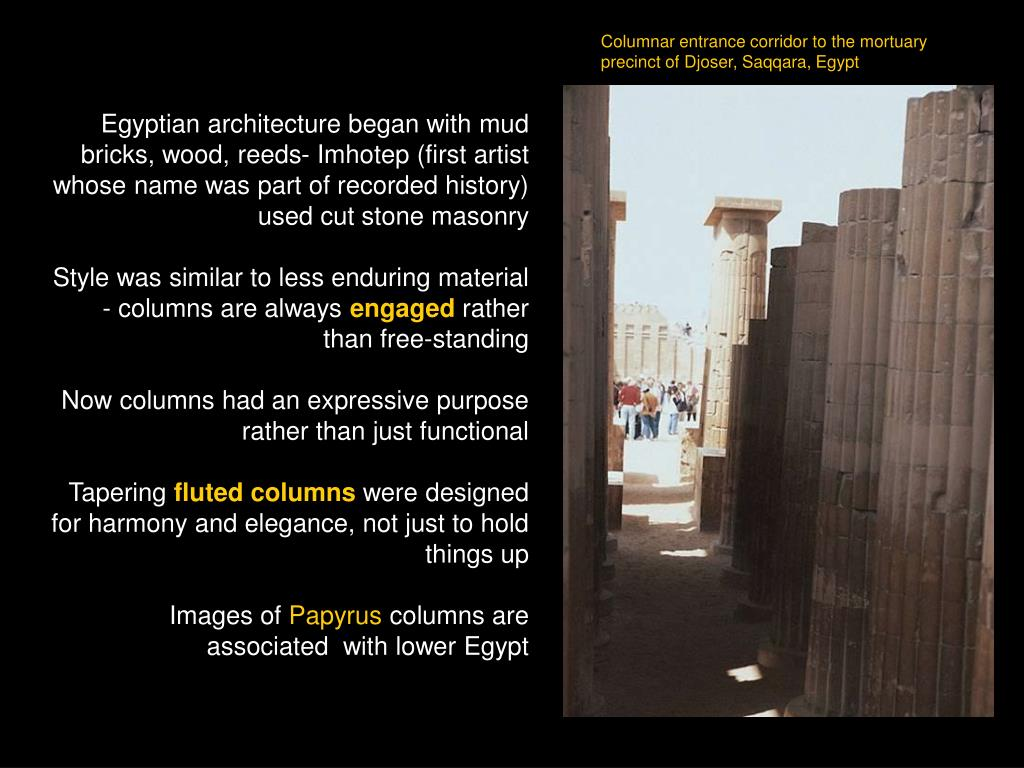 Columnar entrance corridor to the mortuary  precinct of Djoser, Saqqara, Egypt