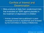 conflicts of interest and dissemination