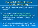 financial conflicts of interest and research design