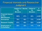 financial interests and researcher judgment