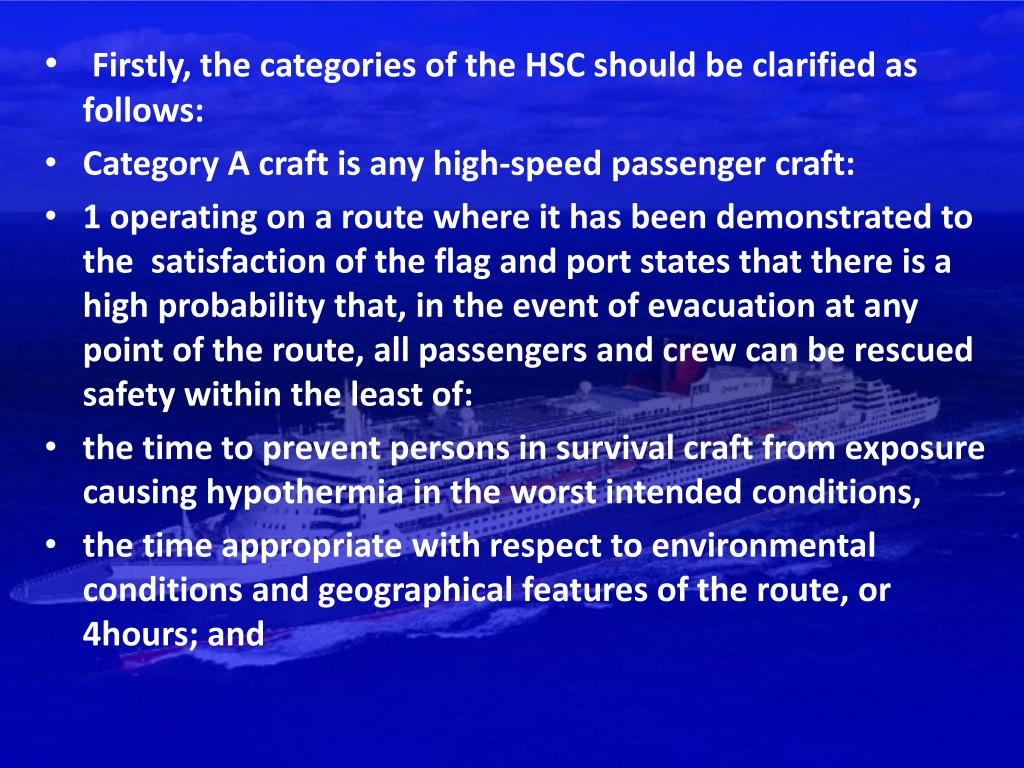 Firstly, the categories of the HSC should be clarified as follows: