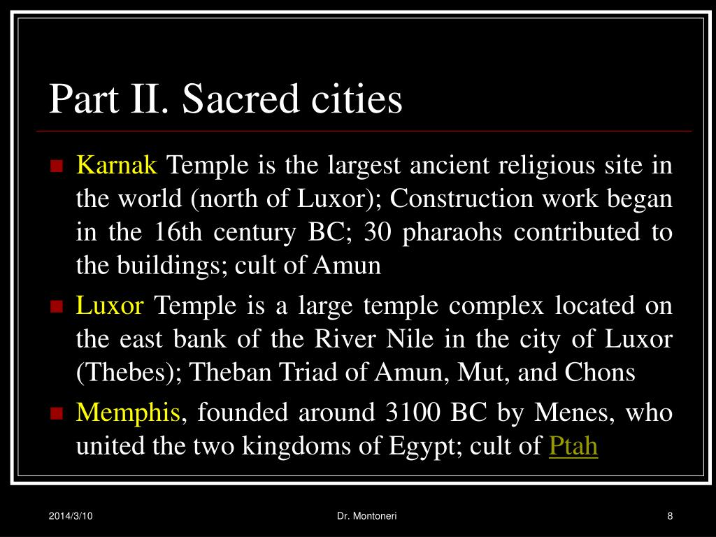 Part II. Sacred cities