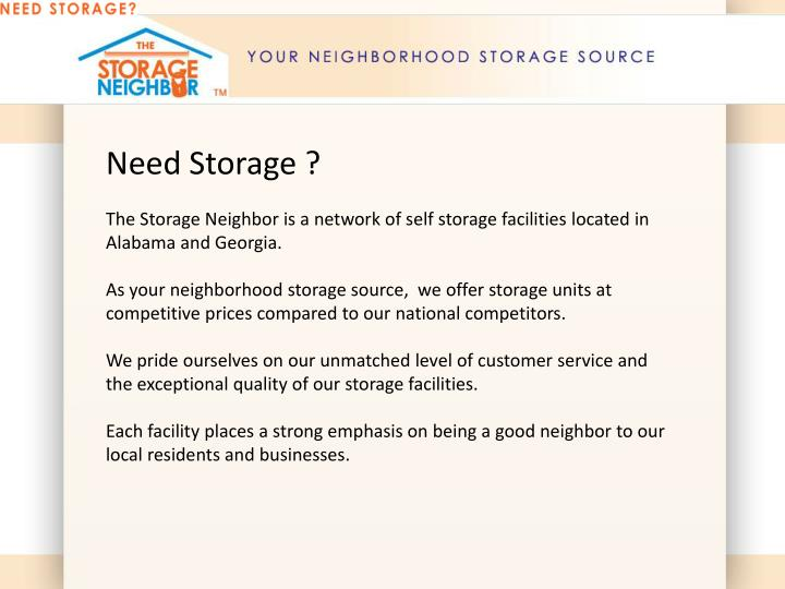 Need Storage ?
