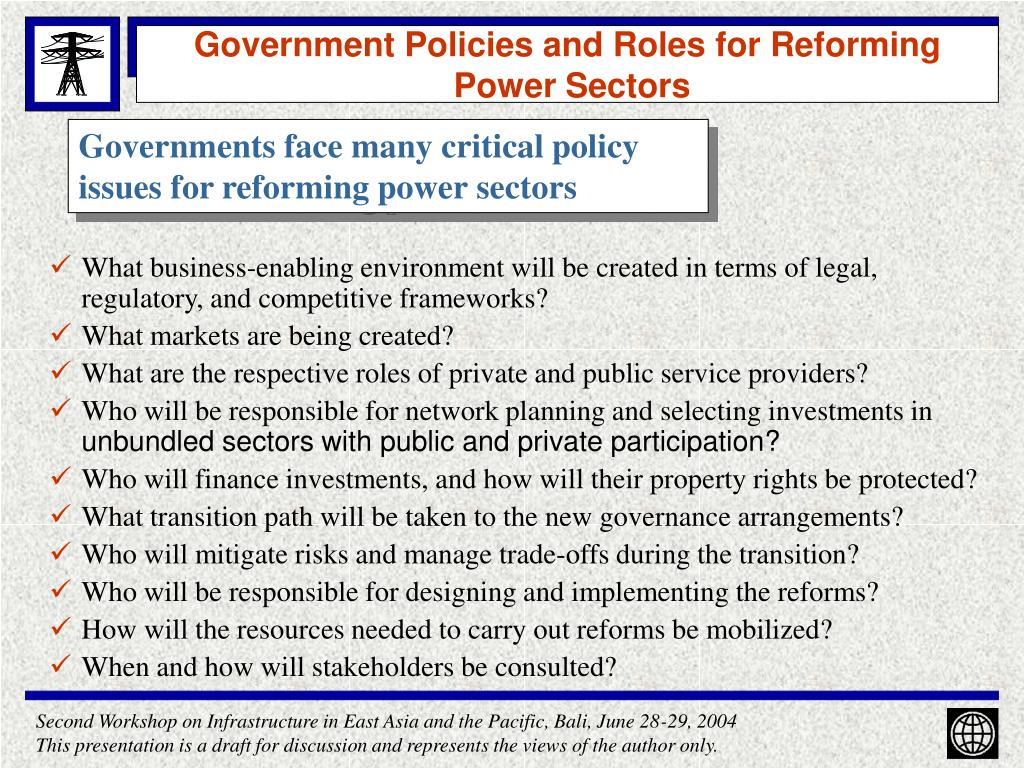 Government Policies and Roles for Reforming