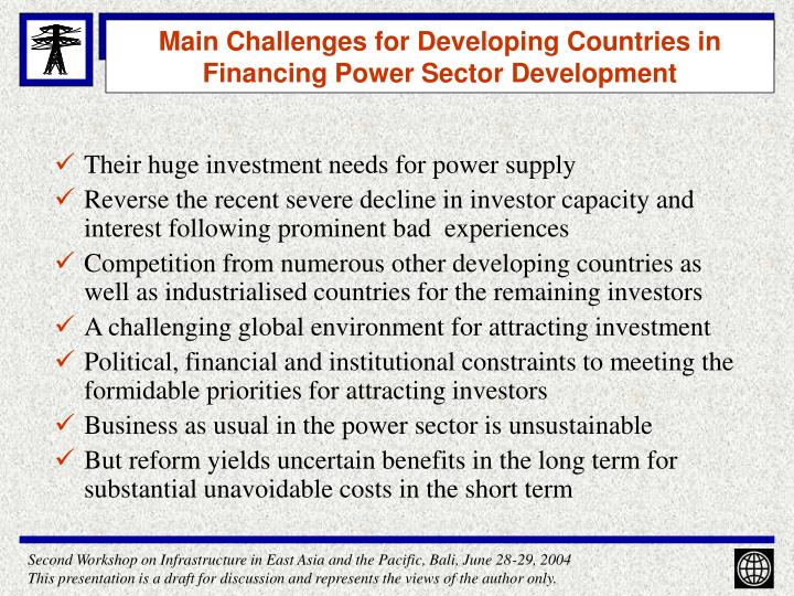Main challenges for developing countries in financing power sector development