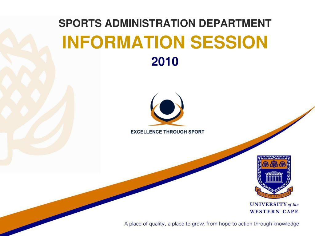 sports administration department information session 2010 l.