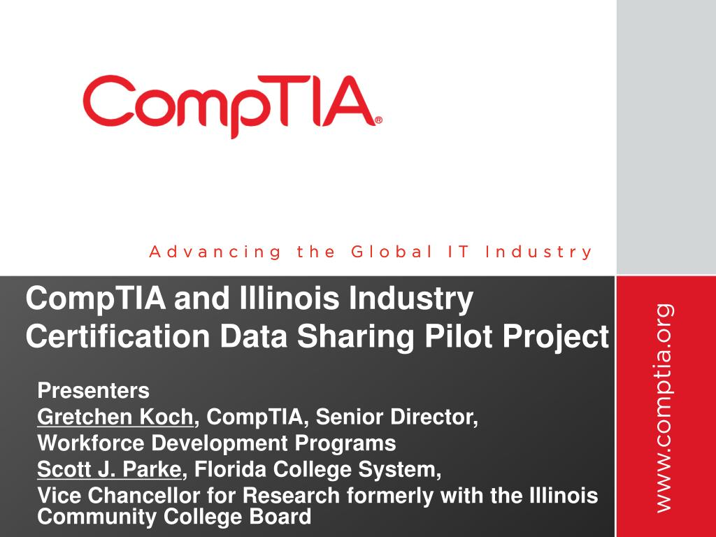 Ppt Comptia And Illinois Industry Certification Data Sharing Pilot