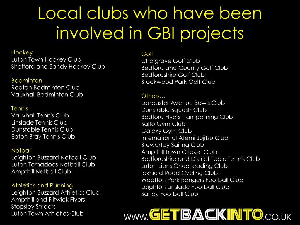 Local clubs who have been involved in GBI projects