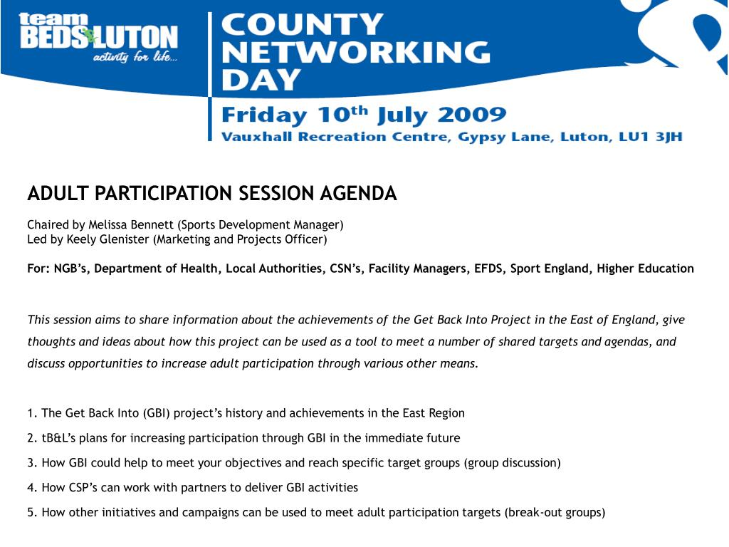 ADULT PARTICIPATION SESSION AGENDA
