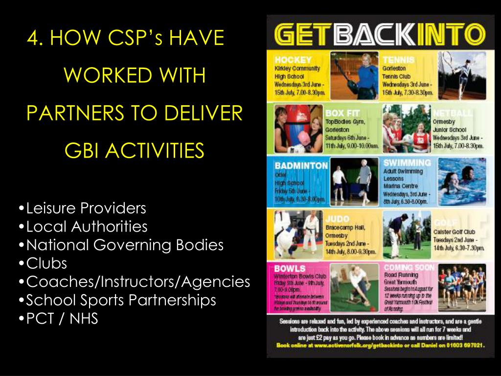 4. HOW CSP's HAVE WORKED WITH PARTNERS TO DELIVER GBI ACTIVITIES