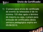 envio do certificado