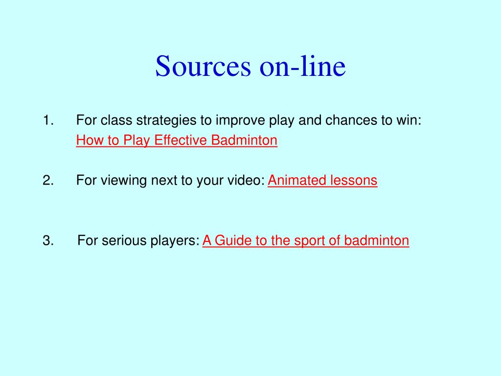 Sources on-line
