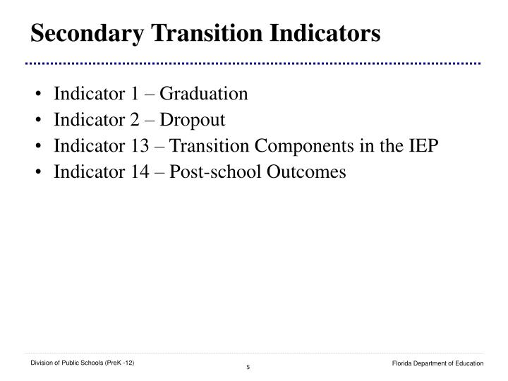 Secondary Transition Indicators