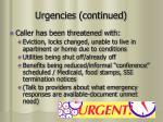 urgencies continued