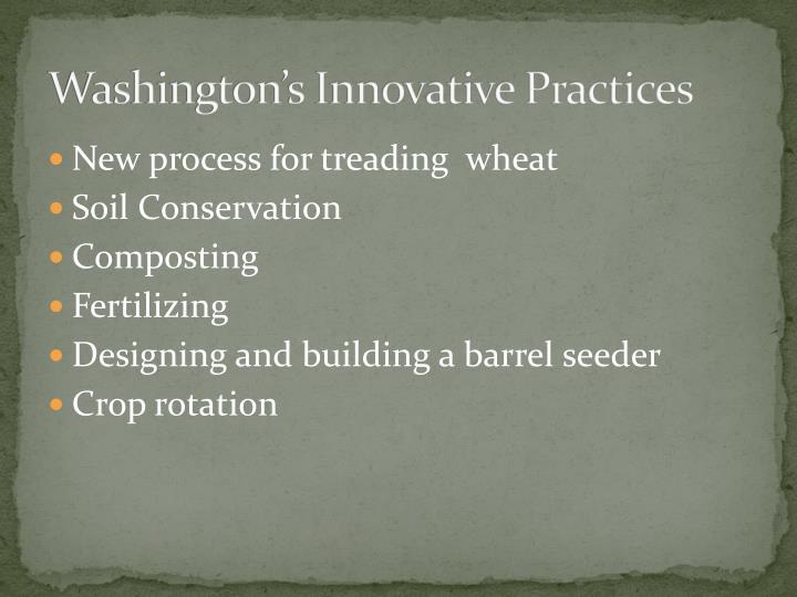 Washington's Innovative Practices
