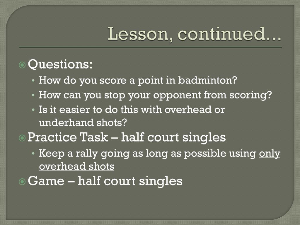 Lesson, continued...