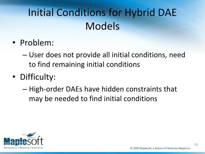 Initial Conditions for Hybrid DAE Models