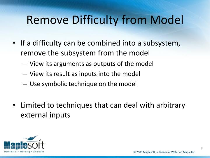 Remove Difficulty from Model