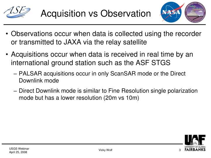 Acquisition vs observation