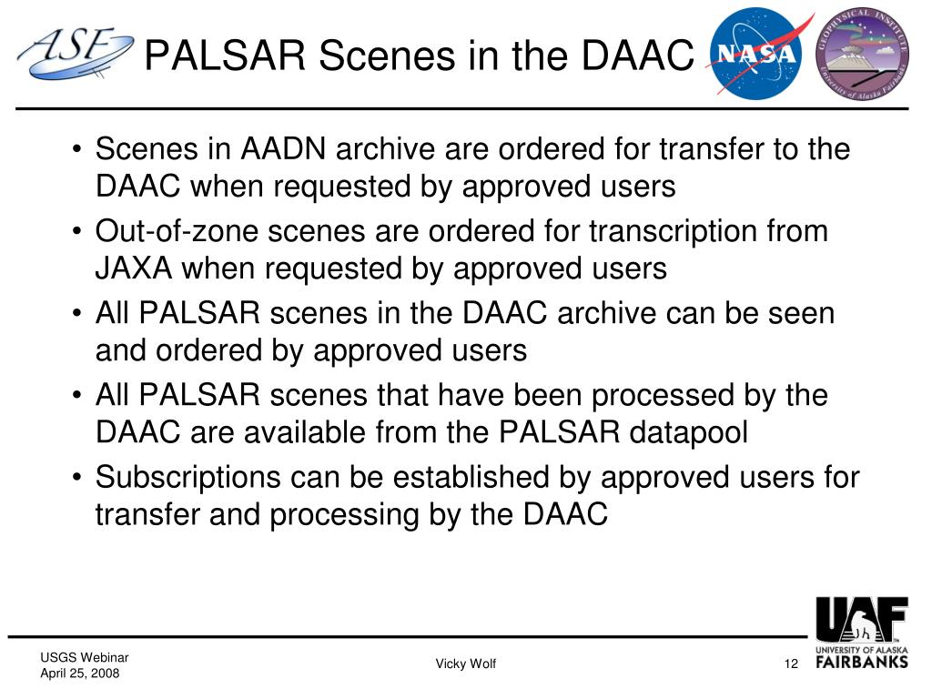 PALSAR Scenes in the DAAC