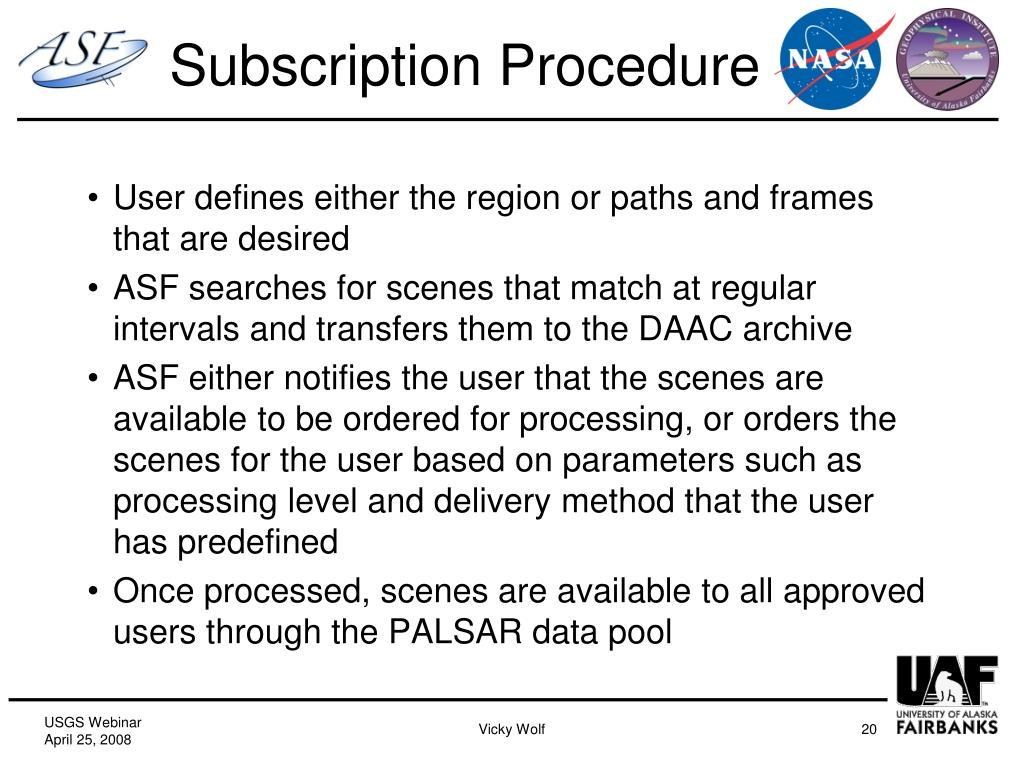 Subscription Procedure