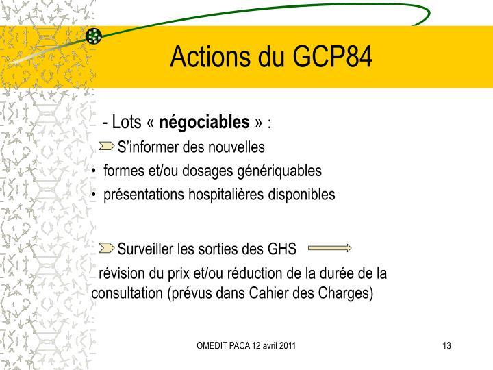 Actions du GCP84
