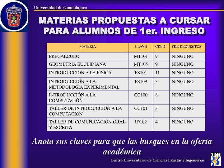 MATERIAS PROPUESTAS A CURSAR PARA ALUMNOS DE 1er. INGRESO