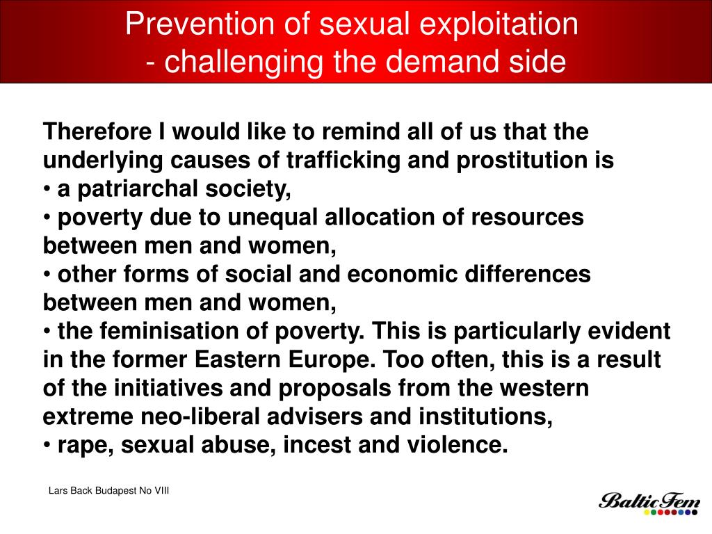 Prevention of sexual exploitation