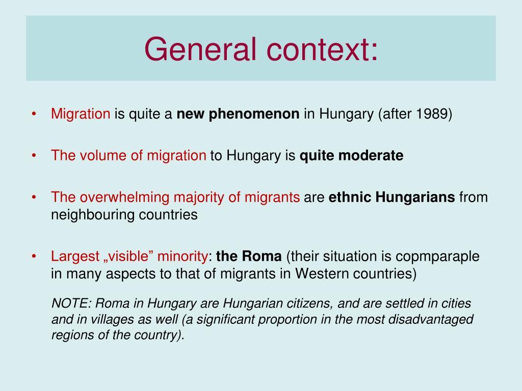 General context: