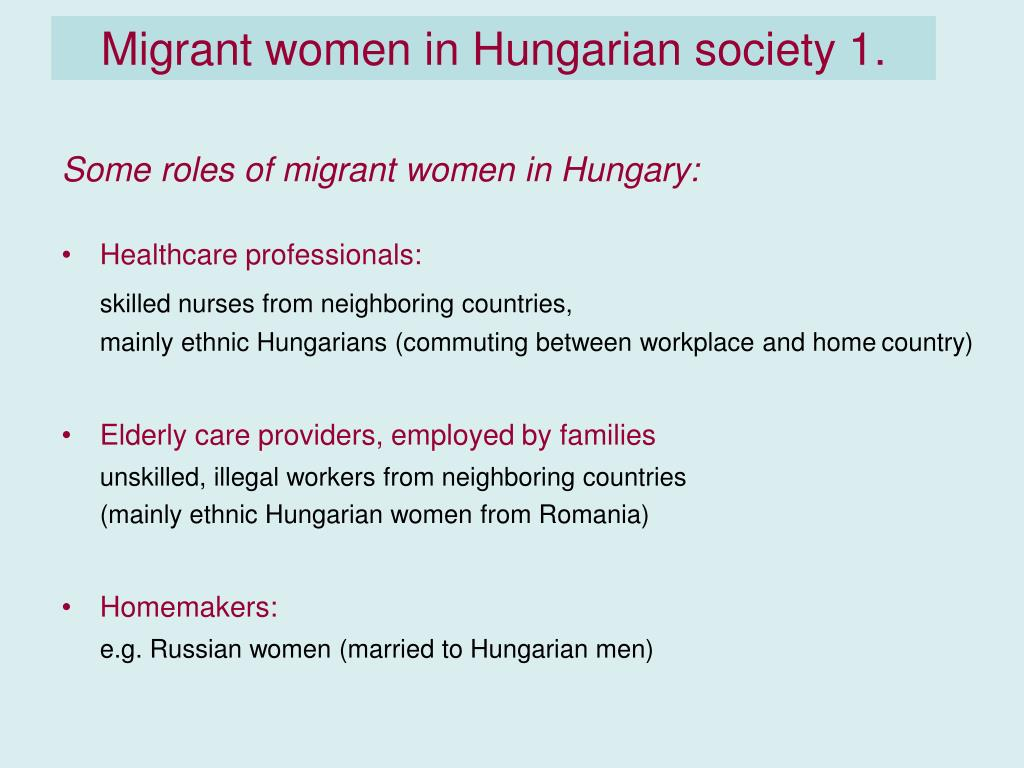 Migrant women in Hungarian society 1.