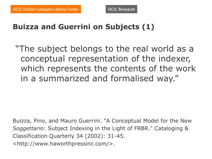 Buizza and Guerrini on Subjects (1)