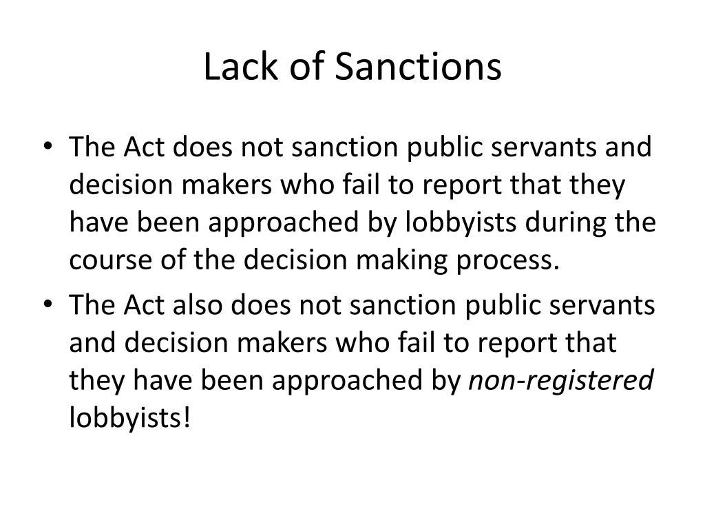 Lack of Sanctions