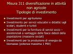 misura 311 diversificazione in attivit non agricole tipologie di investimento