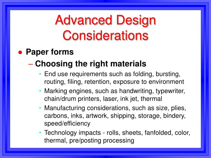 advanced design considerations n.