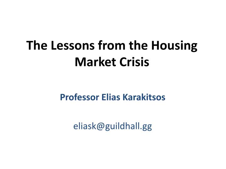 an analysis of the solutions to the housing market crisis A compelling vision for solutions to the lack of affordable housing affordable housing efforts may get lost among competing needs in a community, particularly when public resources are limited.