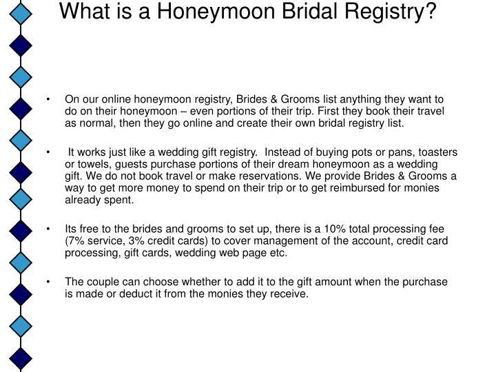 What Is A Honeymoon Bridal Registry