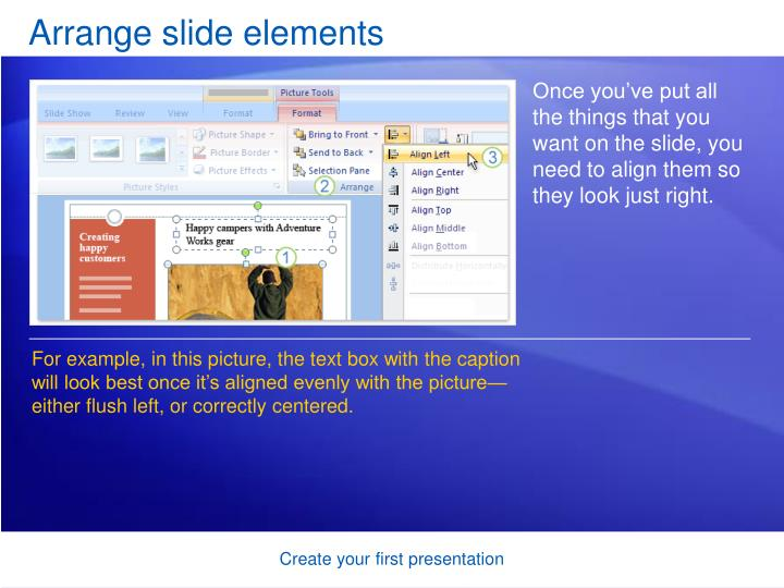 Arrange slide elements