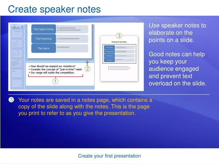 Create speaker notes
