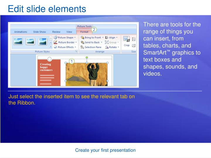 Edit slide elements