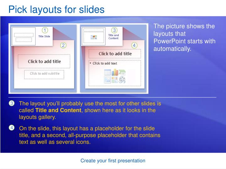 Pick layouts for slides