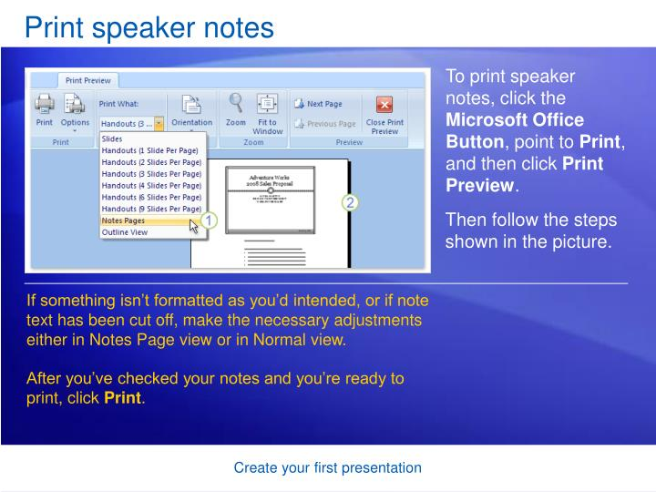 Print speaker notes