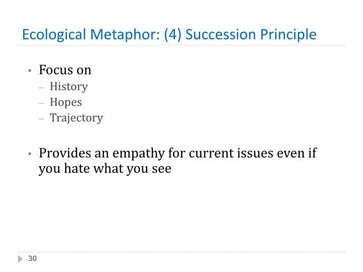Ecological Metaphor: (4) Succession Principle