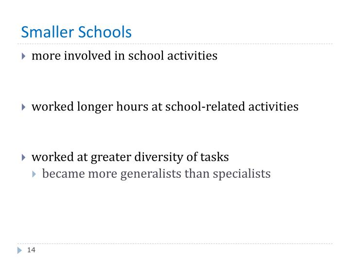 Smaller Schools
