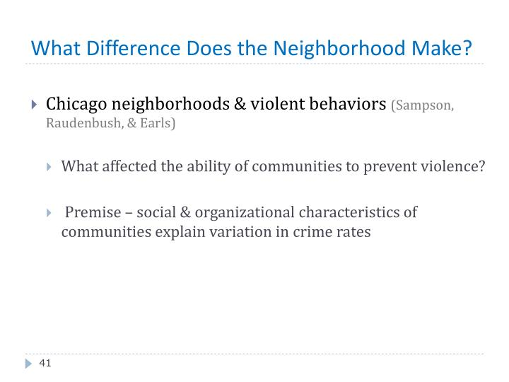What Difference Does the Neighborhood Make?