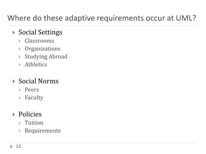 Where do these adaptive requirements occur at UML?
