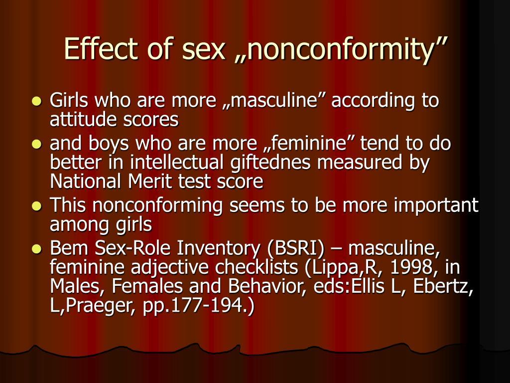 "Effect of sex ""nonconformity"""